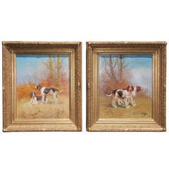 Pair of American Canine Oil on Canvas-  Signed E. Payne