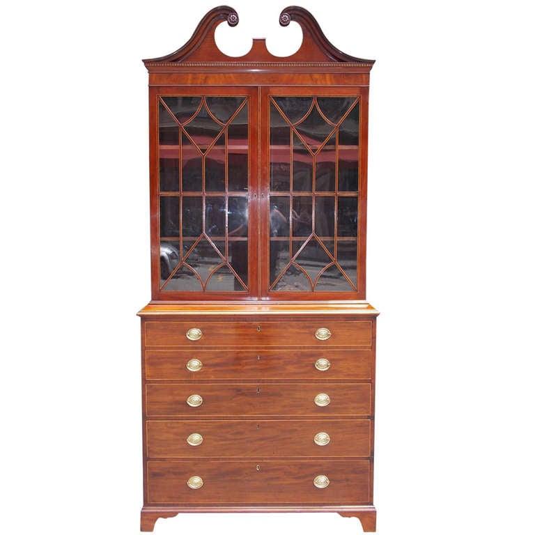 English Mahogany Fall Front Secretary With Bookcase. Circa 1780