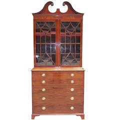 English Mahogany Fall Front Secretary With Bookcase. Circa 1780