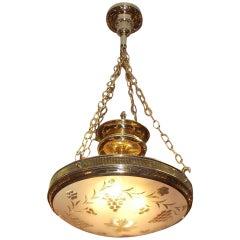 American Brass Frosted Globe Chandelier