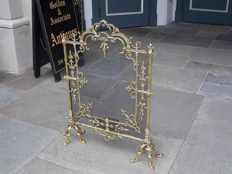 19th Century French Brass Free Standing Fire Screen For Sale