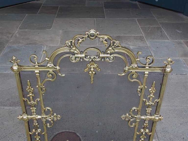French Brass Free Standing Fire Screen For Sale 1