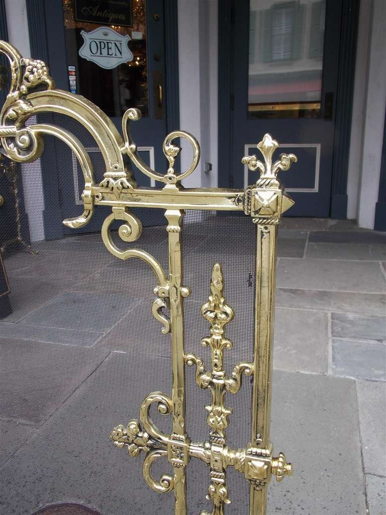 French Brass Free Standing Fire Screen For Sale 2