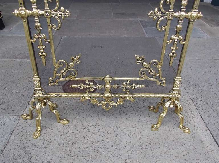 French Brass Free Standing Fire Screen For Sale 3