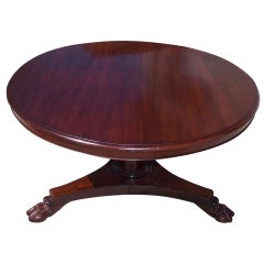 English Mahogany Tilt Top Center Table with Lions Paw Feet, Circa 1820