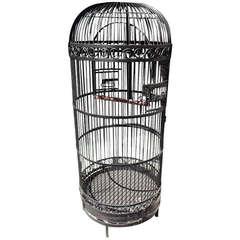 American Wrought Iron Bird Cage With Perch, Circa 1870