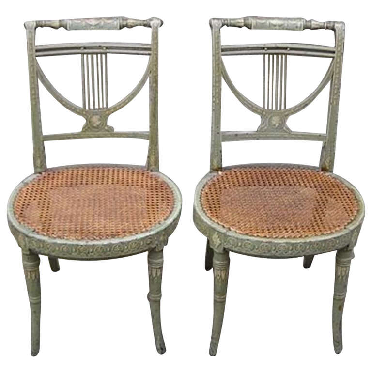 Superbe Pair Of French Hand Painted And Stenciled Lyre Back Chairs, Circa 1810 For  Sale