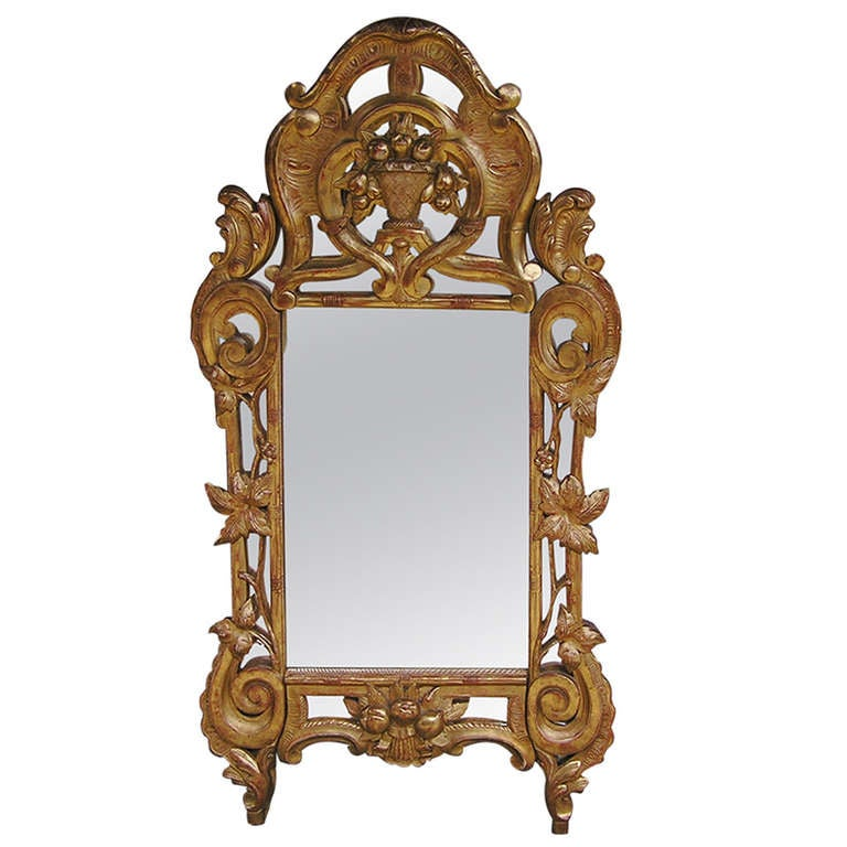 Italian Carved Wood and Gold Gilt Wall Mirror, Circa 1780