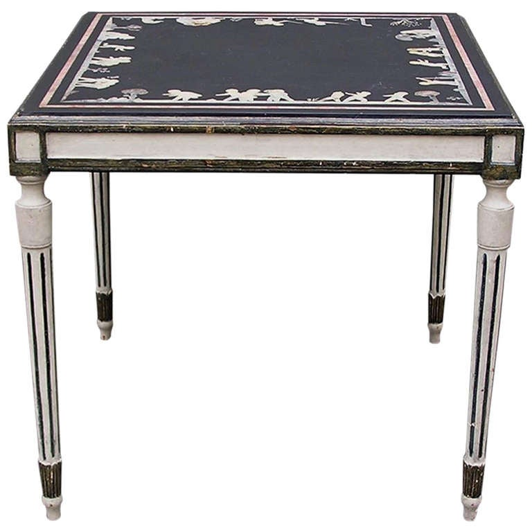 Italian Inlaid and Painted Slate Top Table, Circa 1820