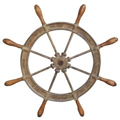 American Cast Iron and Wood Classic Ship Wheel, Signed by Maker. Circa 1870