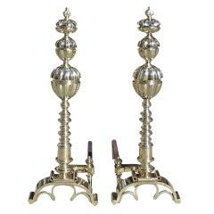 Pair of Italian Brass Figural Andirons, Circa 1800