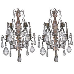 Pair of French Bronze and Crystal Sconces, Circa 1820