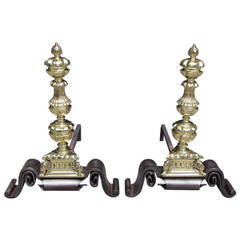 Pair of English Decorative Brass and Wrought Iron Andirons, Circa 1750