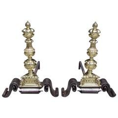 Pair of English Decorative Brass and Wrought Iron Andirons, Circa 1750