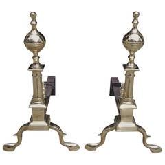 Pair of American Brass Ball Top Andirons, New York, Circa 1810