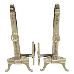Pair of Monumental French Brass Obelisk Acanthus Floral Andirons. Circa 1830
