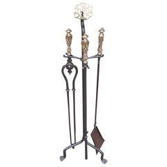 Set of French Bronze and Polished Steel Fire Tools on Stand.  Circa 1830