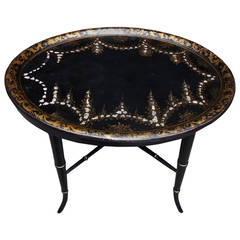 English Regency Papier-Mâché Inlaid Mother of Pearl Tray on Stand, Circa 1820