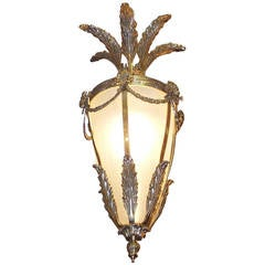 French Brass Floral Hanging Lantern with Frosted Globe, Circa 1840