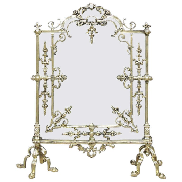 French Brass Free Standing Fire Screen For Sale
