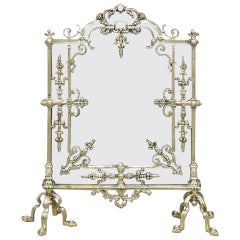 French Brass Free Standing Fire Screen