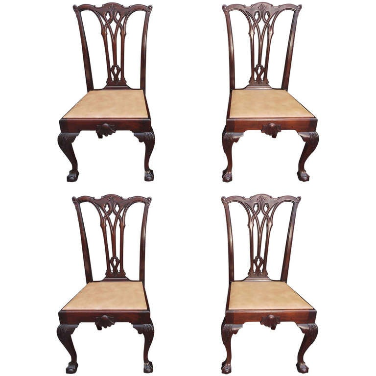 Set of Four American Chippendale Style Mahogany Side Chairs, Circa 1870