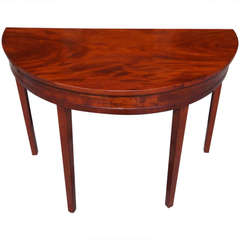 American Mahogany Demi-lune Table. Circa 1790