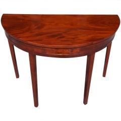 American Mahogany Demi-lune Table. Circa 1790