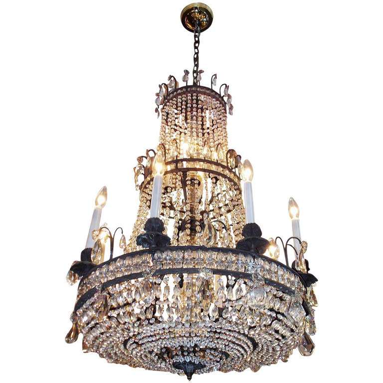 French Bronze and Crystal Three Tiered Chandelier Circa