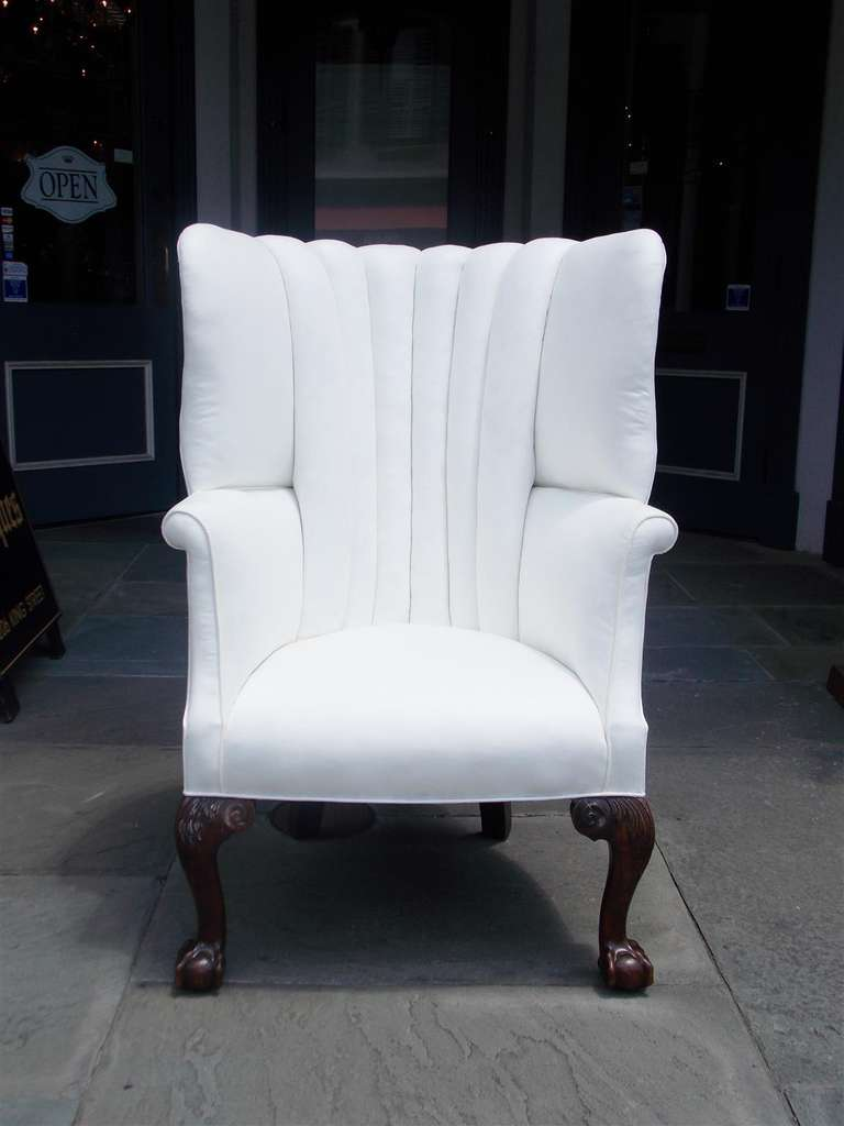 English Chippendale Mahogany Barrel Back Wing Chair Circa
