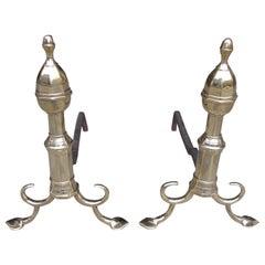 Pair of American Brass Acorn Faceted Andirons, Philadelphia, Circa 1800