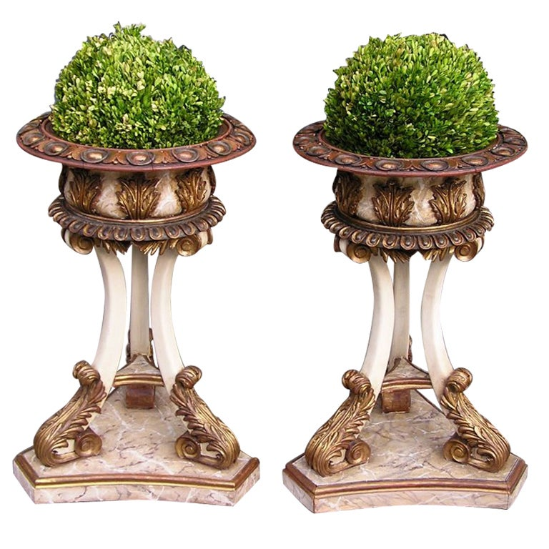 Pair of Italian Carved Wood Hand Painted and Gilt Garden Planters, Circa 1870 For Sale