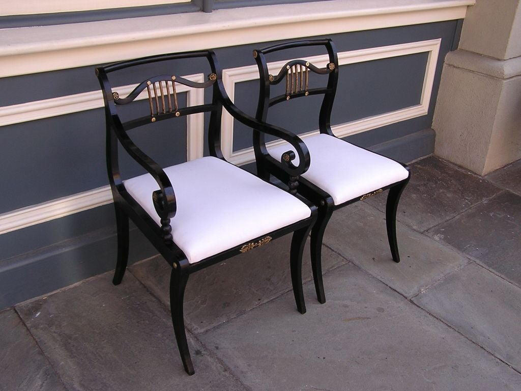 Set of Eight English Regency Chairs In Excellent Condition For Sale In Charleston, SC