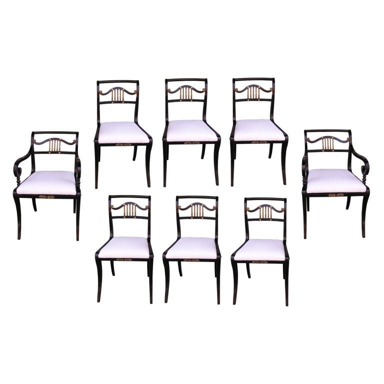Set of Eight English Regency Painted & Silver Gilt Dining Room Chairs. C. 1790 For Sale