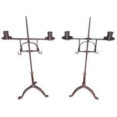 Pair of Italian Wrought Iron Candelabras