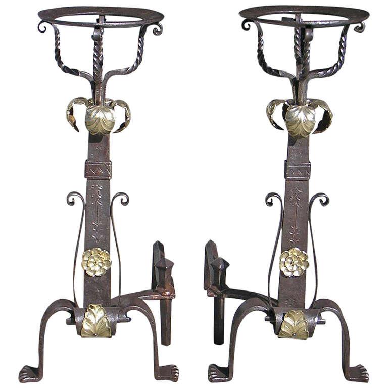 Pair of Italian Wrought Iron and Bronze Basket Andirons, Circa 1820
