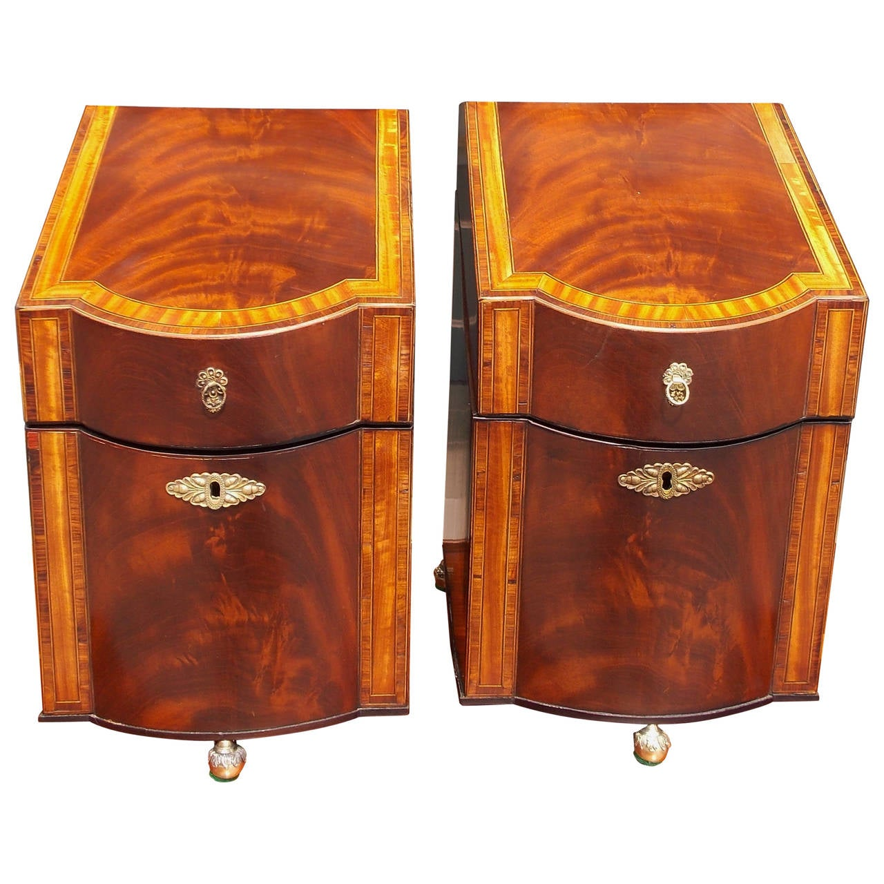 Pair of American Mahogany Inlaid Cutlery Boxes Charleston, SC, Circa 1790 For Sale