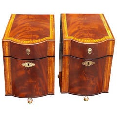 Pair of American Mahogany Inlaid Cutlery Boxes Charleston, SC, Circa 1790