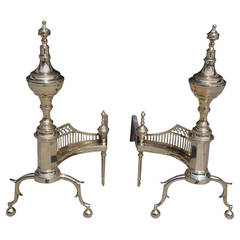 Pair of American Brass Urn Finial & Gallery Andirons. NY, Circa 1815, Wittingham