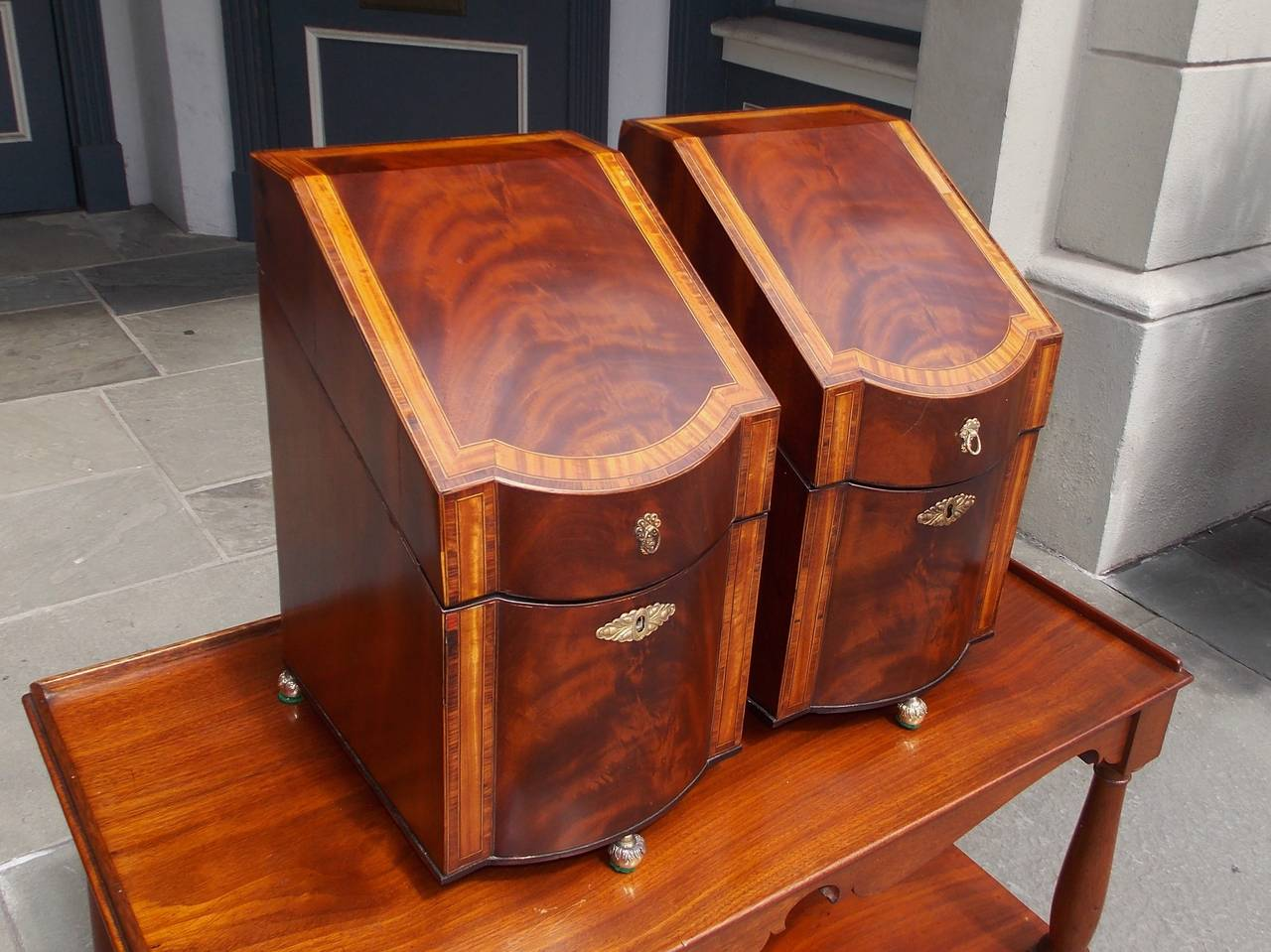 American Colonial Pair of American Mahogany Inlaid Cutlery Boxes Charleston, SC, Circa 1790 For Sale