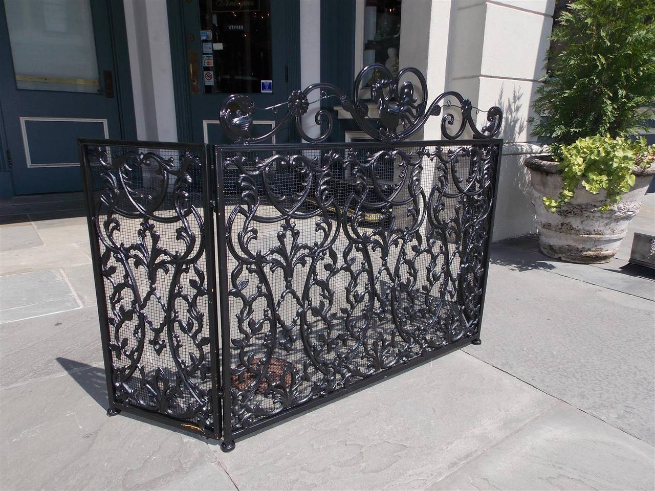 french wrought iron and painted rooster fire screen circa 1840 at
