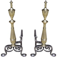American Brass and Polished Steel Andirons
