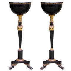 Pair of Russian Gilt Figural and Ebonized Marble Top Pedestals, Circa 1790