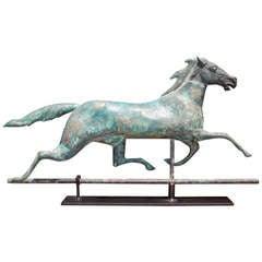 American Copper Full Bodied Running Horse Weathervane, J.W. Fiske. Circa 1880