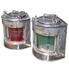 Pair of English Polished Steel Ship Lanterns ( Meteorite Firm )