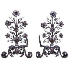 Pair of Italian Wrought Iron Floral Andirons
