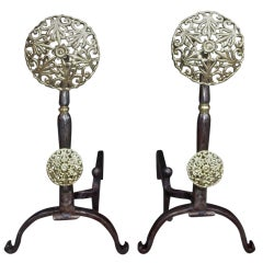 Pair of Italian Brass and Polished Steel Double Medallion Andirons, Circa 1830