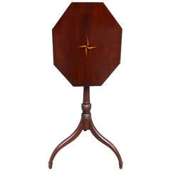 American Hepplewhite Mahogany Inlaid Tilt Candle Stand, Circa 1790