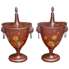 Pair of English Regency Tole Chestnut Urns, Circa 1810