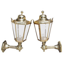 Pair of English Regency Bronze Wall-Mounted Glass Lanterns, Circa 1840